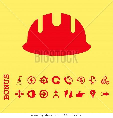 Builder Hardhat vector icon. Image style is a flat pictogram symbol, red color, yellow background.