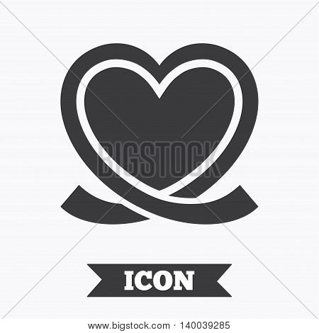 Heart ribbon sign icon. Love symbol. Graphic design element. Flat heart symbol on white background. Vector