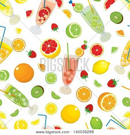 Seamless pattern with citrus products - orange, lemon, lime, grapefruit, fruits - strawberry, kiwi and with Mojito cocktails. Vector colorful illustration on white background.