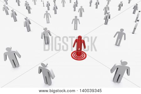 3D illustration of Business conceptual red business man standing out from white business man.