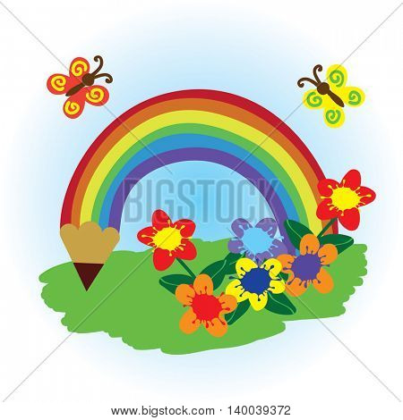 flat button with pencil rainbow