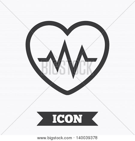 Heartbeat sign icon. Cardiogram symbol. Graphic design element. Flat heartbeat symbol on white background. Vector