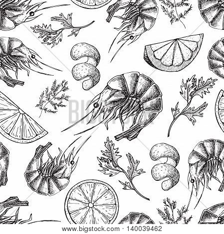 Shrimp vector drawing. Seamless seafood pattern. Shrimp food background. Great for seafood restaurant menu or decor
