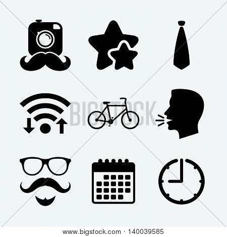 Hipster photo camera. Mustache with beard icon. Glasses and tie symbols. Bicycle family vehicle sign. Wifi internet, favorite stars, calendar and clock. Talking head. Vector
