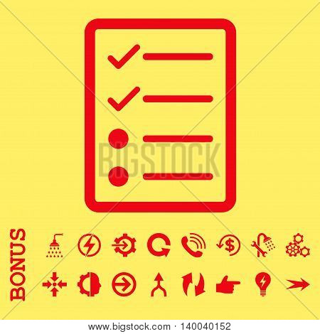 Checklist Page vector icon. Image style is a flat pictogram symbol, red color, yellow background.