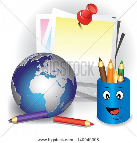 Sheet paper pinned by pin with pencil on white background. Concept of global education. Vector illustration isolated