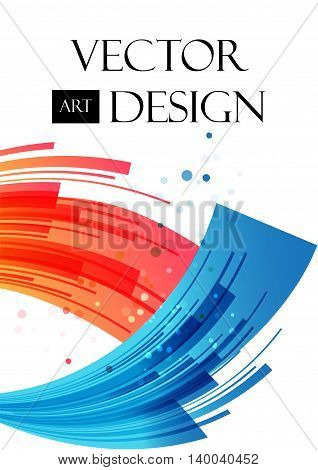 Abstract background red and blue arcuate elements striped pattern vector illustration