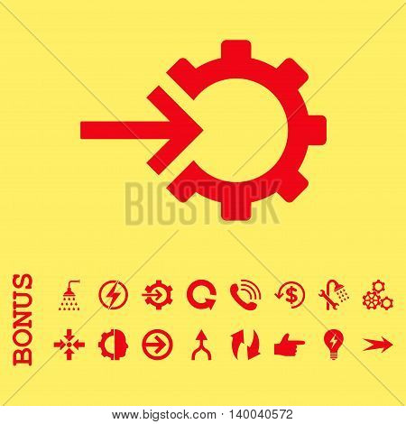 Cog Integration vector icon. Image style is a flat pictogram symbol, red color, yellow background.