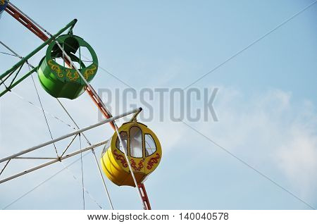 cabins of the Ferris wheel against the sky