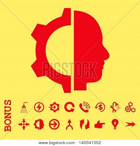 Cyborg Gear vector icon. Image style is a flat iconic symbol, red color, yellow background.