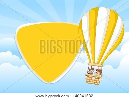Cartoon kids inside a hot air balloon in the sky. Infographic template design.