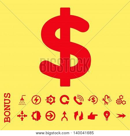 Dollar vector icon. Image style is a flat pictogram symbol, red color, yellow background.
