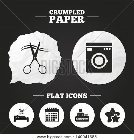 Crumpled paper speech bubble. Hotel services icons. Washing machine or laundry sign. Hairdresser or barbershop symbol. Reception registration table. Quiet sleep. Paper button. Vector