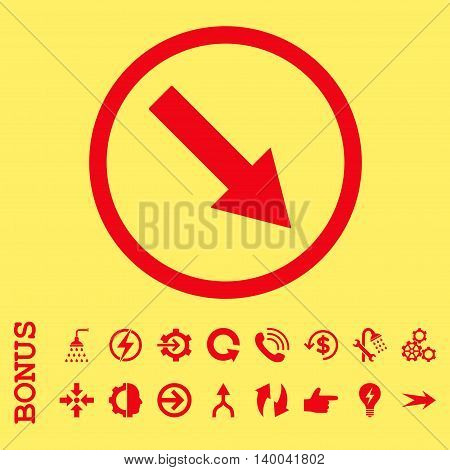Down-Right Rounded Arrow vector icon. Image style is a flat pictogram symbol, red color, yellow background.