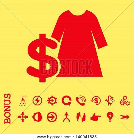 Dress Price vector icon. Image style is a flat pictogram symbol, red color, yellow background.