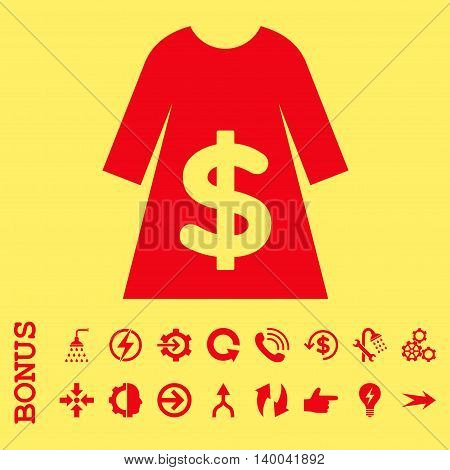 Dress Sale vector icon. Image style is a flat pictogram symbol, red color, yellow background.