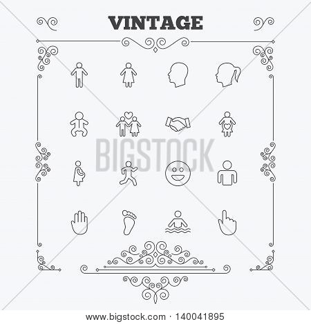 Human icons. Male and female symbols. Infant toddler and pregnant woman. Happy smile face. Success deal handshake. Vintage ornament patterns. Decoration design elements. Vector