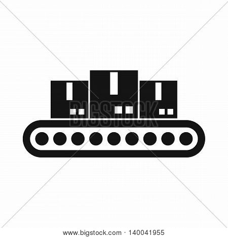 Belt conveyor with load icon in simple style isolated on white background. Products symbol