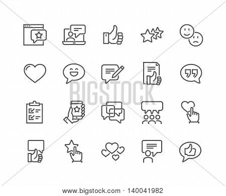 Simple Set of Testimonials Related Vector Line Icons. Contains such Icons as Customer Relationship Management, Feedback, Review, Emotion symbols and more. Editable Stroke. 48x48 Pixel Perfect.