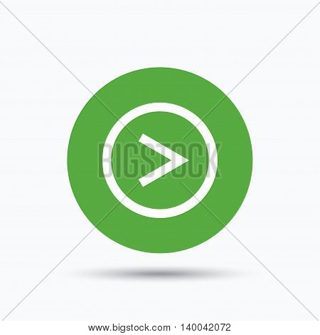 Arrow icon. Next navigation symbol. Flat web button with icon on white background. Green round pressbutton with shadow. Vector