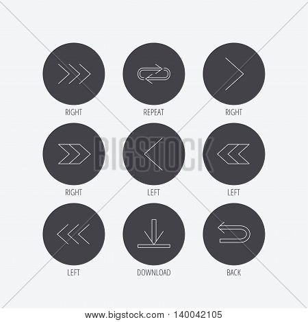 Arrows icons. Download, repeat linear signs. Next, back arrows flat line icons. Linear icons in circle buttons. Flat web symbols. Vector