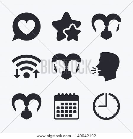 Couple love icon. Lesbian and Gay lovers signs. Romantic homosexual relationships. Speech bubble with heart symbol. Wifi internet, favorite stars, calendar and clock. Talking head. Vector