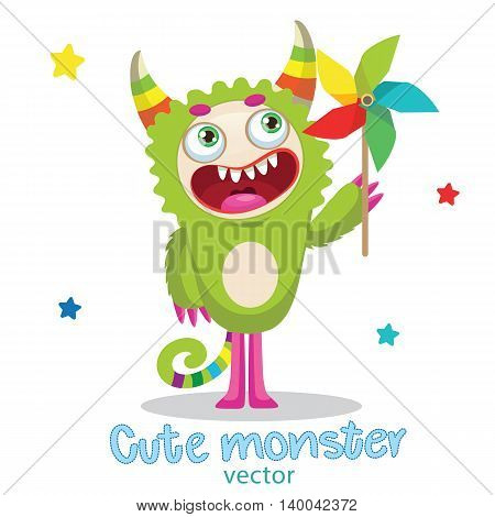Cute Monster Illustration. Cartoon Monster Mascot. Green Monster With Color Pinwheel. Vector Illustration Funny Fantastic Animals. Monsters University.