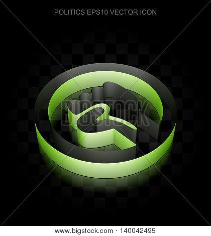 Political icon: Green 3d Uprising made of paper tape on black background, transparent shadow, EPS 10 vector illustration.
