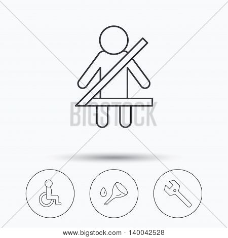Wrench key, oil change and fasten seat belt icons. Disabled person linear sign. Linear icons in circle buttons. Flat web symbols. Vector
