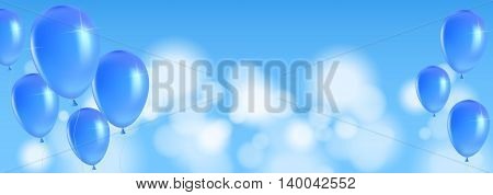 Festive background with balloons on a blue background. Vector illustration