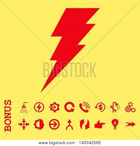 Execute vector icon. Image style is a flat pictogram symbol, red color, yellow background.