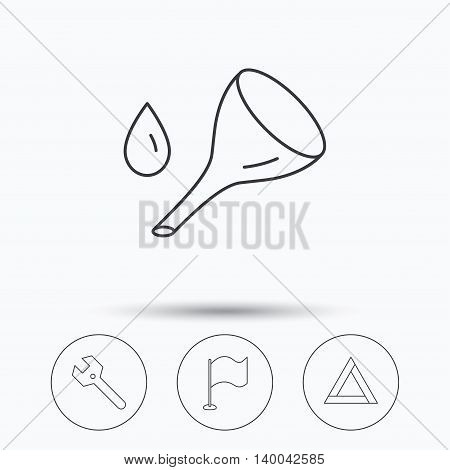 Flag pointer, emergency sign and wrench key icons. Emergency triangle, oil change linear signs. Linear icons in circle buttons. Flat web symbols. Vector