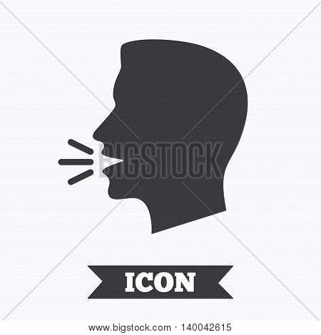 Talk or speak icon. Loud noise symbol. Human talking sign. Graphic design element. Flat speak symbol on white background. Vector