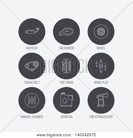 Wheel, car mirror and timing belt icons. Fire extinguisher, jerrycan and manual gearbox linear signs. Muffler, spark plug icons. Linear icons in circle buttons. Flat web symbols. Vector