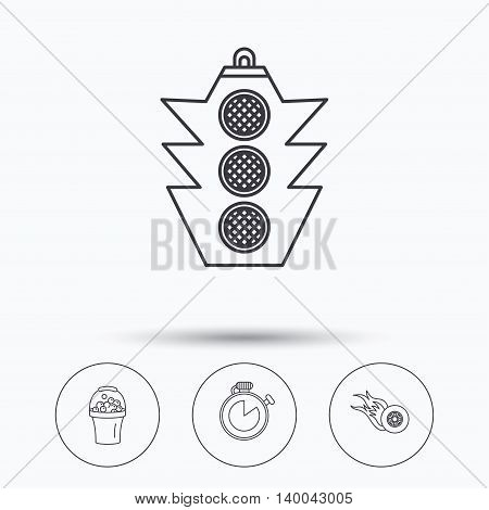 Race, traffic lights and speed icons. Bucket with foam, fire wheel linear signs. Linear icons in circle buttons. Flat web symbols. Vector