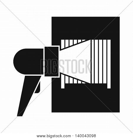 Bar code on cargo icon in simple style isolated on white background. Equipment symbol