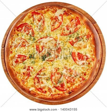 Pizza with spicy marinated chicken, tomato and cream cheese