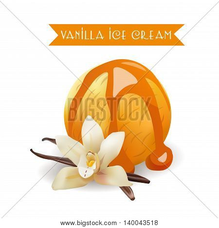 Vanilla Ice Cream Scoop. Tasty Flavor with liquid Caramel. Vector Isolated Product.