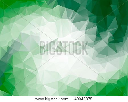 Green bright triangle polygon background Vector frame. Abstract Geometrical Backdrop. Geometric design for business presentations or web template banner flyer. monochrome. Illustration pattern eps10.
