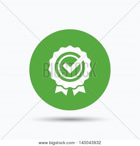 Award medal icon. Winner emblem with tick symbol. Flat web button with icon on white background. Green round pressbutton with shadow. Vector