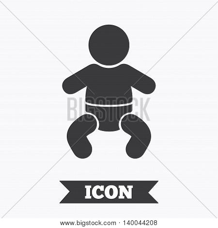 Baby infant sign icon. Toddler boy with diapers symbol. Child WC toilet. Graphic design element. Flat infant symbol on white background. Vector
