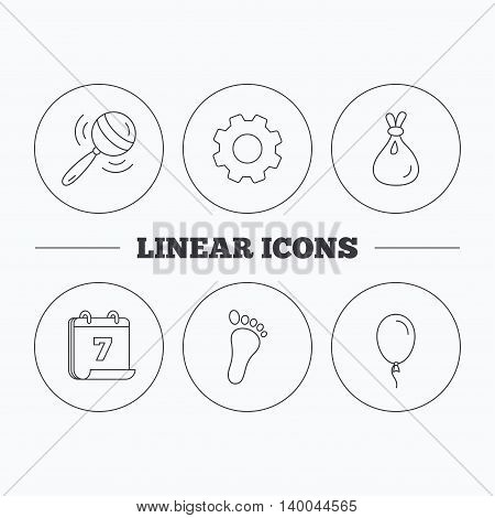 Rattle toy, footprint and air balloon icons. Sack linear sign. Flat cogwheel and calendar symbols. Linear icons in circle buttons. Vector