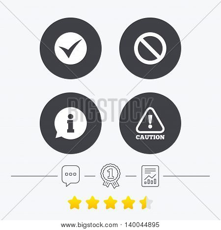 Information icons. Stop prohibition and attention caution signs. Approved check mark symbol. Chat, award medal and report linear icons. Star vote ranking. Vector