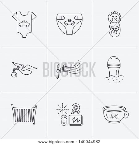 Diapers, newborn baby and clothes icons. Kids songs, beach bucket and bed linear signs. Video monitoring, wc flat line icons. Linear icons on white background. Vector