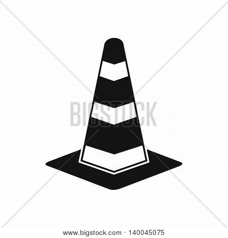 Traffic cone icon in simple style isolated on white background. Warning symbol