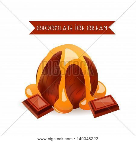 Chocolate Ice Cream Scoop. Dessert Flavor with liquid Caramel. Vector Isolated Product.