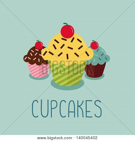 Cute cartoon-style illustration with three cupcakes. EPS10