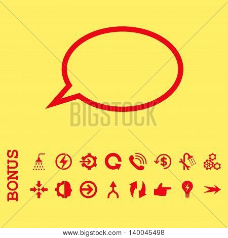 Hint Cloud vector icon. Image style is a flat pictogram symbol, red color, yellow background.