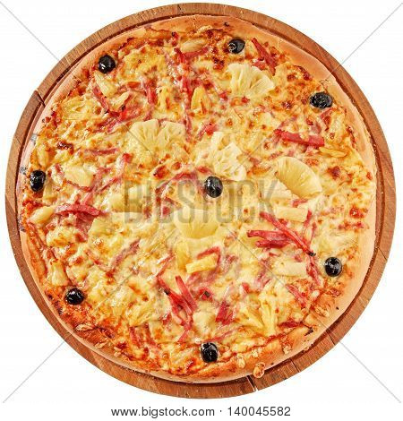 Pizza with ham, pineapple, mozzarella and olives