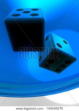 Golden dice on plate 3d illustration